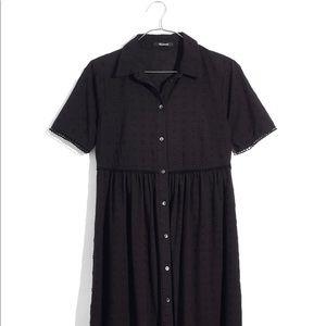 Madewell Chipdot Midi Shirt Dress in Black